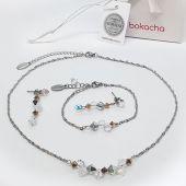 Бижута CANDY ELEGANCE с кристали Swarovski®, Бял цвят, Колие, Обеци и Гривна, Код PR S714-3