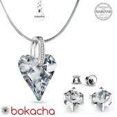 Бижута с кристали Swarovski® WILD HEART CAL V SI - Бял цвят, Колие с обеци,  Код PR S651