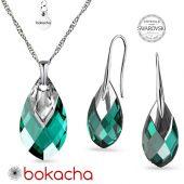 Комплект бижута с кристали SWAROVSKI® MET CAP PEAR, Emerald, Зелен цвят, Колие и Обеци, Код PR S668