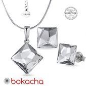 Бижута с кристали SWAROVSKI® ASYMMETRIC SQUARE 10мм Crystal CAL V SI- Бял, Колие и обеци, Код PR S644