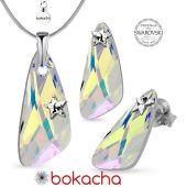 Бижута STAR декорирани с кристали Swarovski® WING Crystal Aurore Boreale** AB, Бял, Колие и Обеци, 23мм, Код PR S581