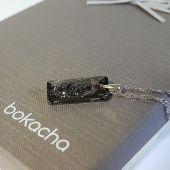 Колие с кристал SWAROVSKI® Growing Crystal Rectangle в Silver Night** AB - Черен цвят, Код PR N558