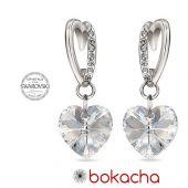 Обеци VALENTINE SWAROVSKI® WHITE HEART Crystal 10 мм, Бял цвят Код PR E431