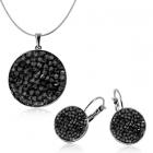 Бижута с кристали Swarovski® CRYSTAL ROCK Silver Night** AB - Черен, Колие и Обеци, Код PR S441A