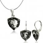 Бижута с кристали Swarovski® TRILLIANT Silver Night** AB - Черен, Колие и Обеци, 12мм, Код PR S450A