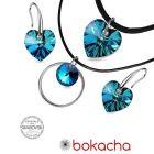 Бижута с кристали Swarovski® HEART Bermuda Blue BBL, Син цвят, Чоукър и Обеци (14 и 10мм), Код PR S509