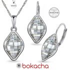 Бижута  с кристали Swarovski® LEMON 14мм Crystal, Бял цвят, Колие и обеци с английско закопчаване, Код PR S568B