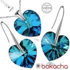 Бижута с кристали Swarovski® BIG HEART Bermuda Blue BBL, Син, Колие и обеци 14 мм,  Код PR S032B