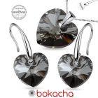Бижута  с кристали Swarovski® HEART Silver Night** AB - Черен, Колие и обеци (14 и 10мм), Код PR S584