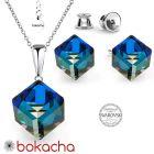 Бижута с кристали Swarovski® CUBE Bermuda Blue BBL, Син цвят, Колие 8мм и Обеци 6мм,  Код PR S420