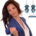 Обеци с кристали Swarovski® ROMANCE HEART Bermuda Blue BBL 10 мм, Син, Код PR E098
