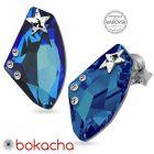 Обеци STAR украсени със SWAROVSKI® GALACTIC 19мм Bermuda Blue BBL Crystal, Син, Код PR E549