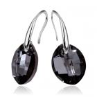 Обеци с кристали Swarovski® LEAF 14мм  Silver Night** AB - Черен, Код PR E451