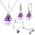 Бижута с кристали Swarovski® TRIANGLE Vitrail Light** VL, Лилаво-зелен, Колие, Обеци и Гривна 16мм и 8мм Код PR S353-3