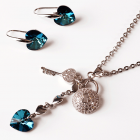 Бижута SWAROVSKI® HEART SECRET Bermuda Blue BBL, Син, Колие и обеци 10 мм,  Код PR S436
