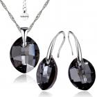 Бижута с кристали Swarovski® LEAF Silver Night** AB - Черен, Колие  и Обеци 14мм,  Код PR S451