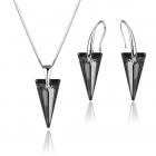 Бижута с кристали Swarovski® SPIKE  Silver Night** AB - Черен, Колие  и Обеци 18мм,  Код PR S452B
