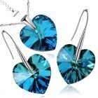 Бижута SWAROVSKI® BIG HEART Bermuda Blue BBL, Син, Колие и обеци 14 мм,  Код PR S032B