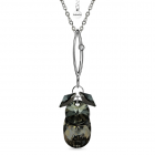 Колие SHINE SWAROVSKI® PEAR DROP 16мм Silver Night** AB - Черен, Код PR N432