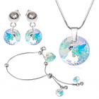 Бижута с кристали Swarovski® RIVOLI GLOBE Crystal AB, Бял цвят, Колие, Обеци и Гривна, Код PR S456-3