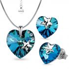 Бижута STAR с кристали SWAROVSKI® HEART Bermuda Blue BBL, Син цвят, Колие и обеци (14 и 10 мм),  Код PR S574