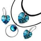 Бижута Swarovski® HEART Bermuda Blue BBL, Син цвят, Чоукър и Обеци (14 и 10мм), Код PR S509