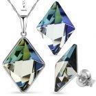 Бижута с кристали Swarovski® TILTED SPIKE Sahara**, Синьо-Зелен цвят, Колие с обеци,  Код PR S542