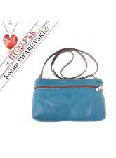 Чанта Естествена Кожа КЛАУДИЯ, FLORENCE, син/кафяв цвят, Код FL86503