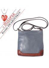Чанта Естествена Кожа КАЛАБРИЯ, FLORENCE, сив/кафяв цвят, Код FL86851