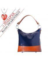 Чанта Естествена Кожа МИЛАНО, FLORENCE, син/кафяв цвят, Код FL86878