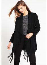 Стилнa дамска жилетка ANNA FIELD с ресни в черен цвят, Размер S, Код JA004FNL
