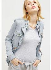 Уникално дамско яке KHUJO милитъри стил в гълъбово-сив цвят, Размер M-L, Код JA903