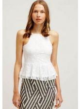 Дамски Топ EVEN&ODD от прекрасна дантела в мек бял цвят, Размер L-XL, Код BL437