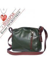 Чанта Естествена Кожа ПОЛО, FLORENCE, зелен/кафяв цвят, Код FLB0161