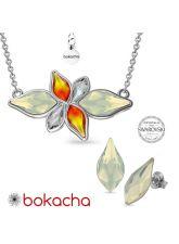 Бижута FAME с кристали Swarovski® FLAME White Opal - Бял опал цвят, Колие и Обеци 14мм, Код PR S659