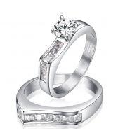Пръстен от 2 части ЕЛЕГАНС, стомана с инкрустирани циркони. Годежен пръстен! Код 316L R008