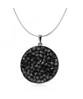 Колие с кристали Swarovski® CRYSTAL ROCK, Silver Night** AB - Черен, Код PR N441B
