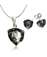 Бижута с кристали Swarovski® TRILLIANT Silver Night** AB - Черен, Колие и Обеци на винт, 12 и 7мм, Код PR S450