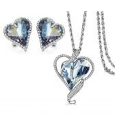 Колие и обеци BIG HEART IN LOVE, Бижута GLORY SWAROVSKI® Crystals, Код ZD S019-2