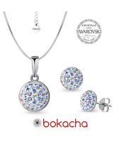 Комплект бижута с кристали SWAROVSKI® PAVE PURE, Crystal Aurore Boreale** AB- Бял цвят, Колие и Обеци, Код PR S708