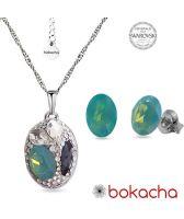 Бижута с кристали SWAROVSKI® DESIGN OVAL Pacific opal- зелен цвят, Колие и обеци, Код PR S656