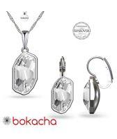 Бижута с кристали SWAROVSKI® METEOR Crystal, Бял цвят, Колие и обеци Код PR S653A