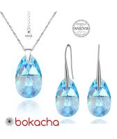 Бижута с кристали Swarovski® BIG PEAR DROP Aquamarine  - Светло син, Колие и Обеци, 22мм, Код PR S110