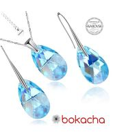 Бижута с кристали Swarovski® PEAR DROP Aquamarine  - Светло син, Колие и Обеци, 16мм, Код PRFNL S100A
