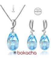 Бижута CRYSTAL SWAROVSKI® PEAR DROP Aquamarine AB - Светло син, Колие и Обеци, 16мм, Код PR S333