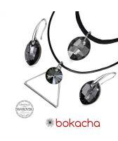 Бижута с кристали Swarovski®  LEAF 14мм Silver Night** AB - Черен, Чоукър и Обеци, Код PR S501