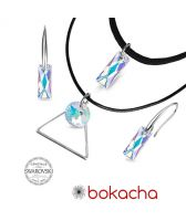 Бижута с кристали Swarovski® QUEEN Baguette 13,5мм, Crystal Aurore Boreale** AB - Бял цвят, Чоукър и Обеци, Код PR S502