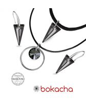 Бижута с кристали Swarovski® SPIKE Silver Night** AB - Черен, Чоукър и Обеци 18мм, Код PR S511