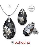 Бижута STAR декорирани със SWAROVSKI® PEAR DROP Silver Night** AB Crystal-Черен, Колие и Обеци, 22мм и 16мм, Код PR S553