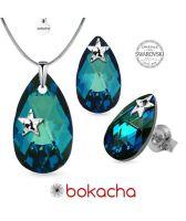 Бижута STAR декорирани със SWAROVSKI® PEAR DROP Bermuda Blue BBL, Син, Колие и Обеци, 22мм и 16мм, Код PR S578